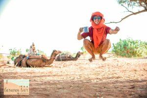 Sam slacklining in Morocco